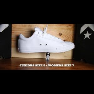 BNWB ALL WHITE LEATHER CONVERSE SNEAKERS